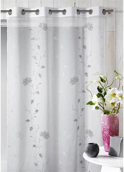 rideau chambre bébé voilage en étamine brodée floral gris homemaison