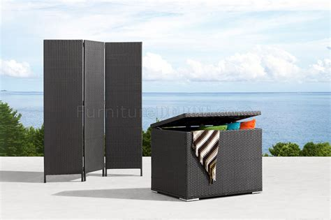 black weave modern outdoor folding screen and storage unit