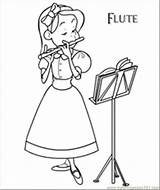 Flute Coloring Dora Printable Instrument Colouring Playing Designlooter Musical Ler Kleurplaten Muziek Template sketch template