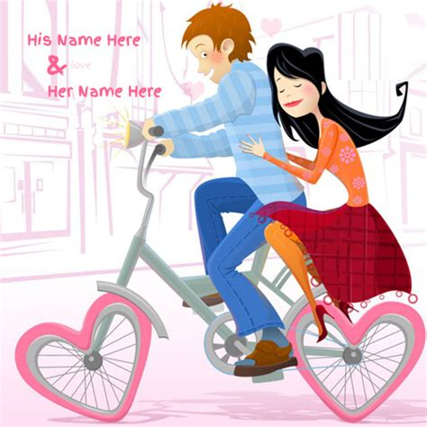 lovely bicycle drawing romantic couple image