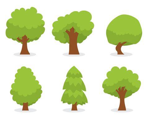 Green Cartoon Tree Vector Set Vector Art & Graphics