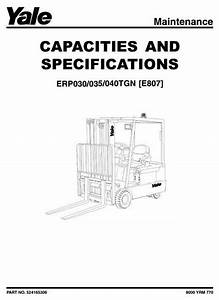 Original Illustrated Factory Workshop Service Manual For Yale Electric Forklift Truck Type E807