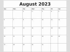 August 2023 Online Printable Calendar