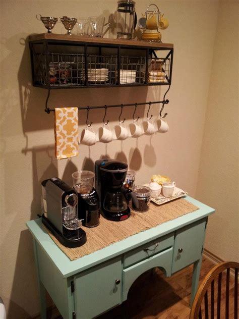 A white closet or a table is a common principle of a coffee shop. Sea Legs: DIY Coffee Bar!