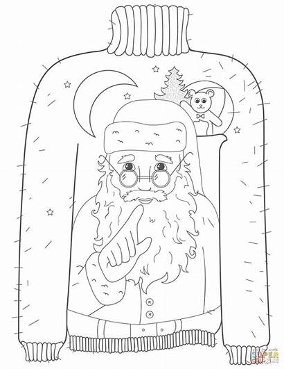 Sweater Ugly Coloring Christmas Santa Pages Sweaters