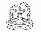 Fountain Coloring Water Pages Template Coloringcrew Garden sketch template