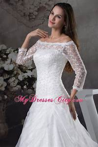 off the shoulder lace court train wedding gowns with 3 4 With 3 4 sleeve off the shoulder lace wedding dress
