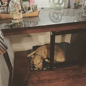diy project converted a built in desk into a dog crate With desk dog crate