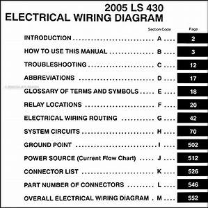 2005 Lexus Ls 430 Wiring Diagram Manual Original