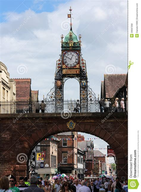 eastgate clock chester england editorial stock photo