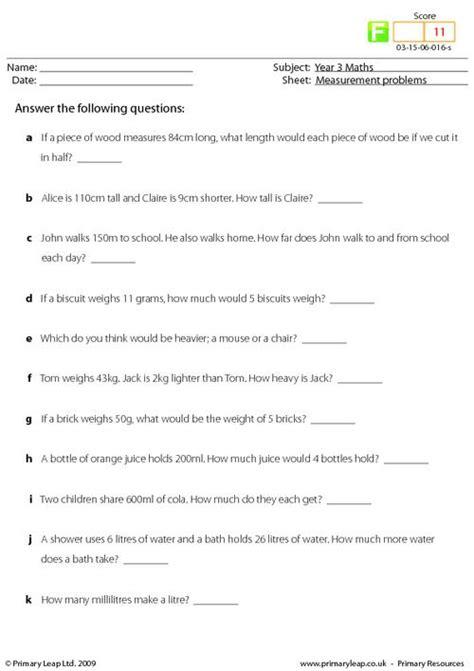 measurement printable primary worksheets