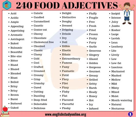 food adjectives adjectives  describe food