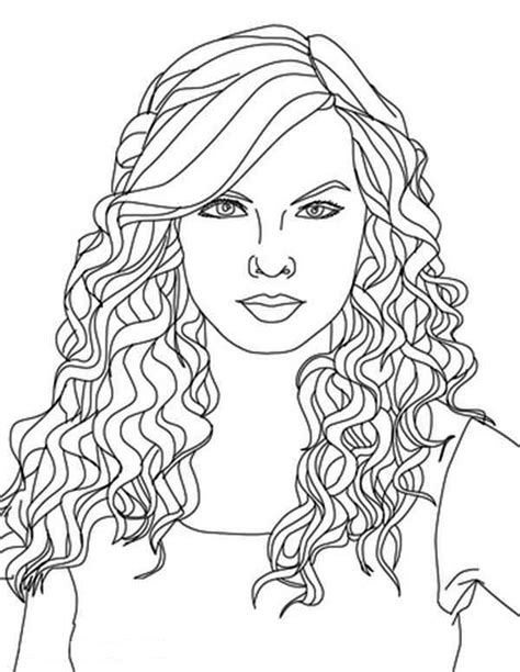 taylor swift curly hair coloring page color luna