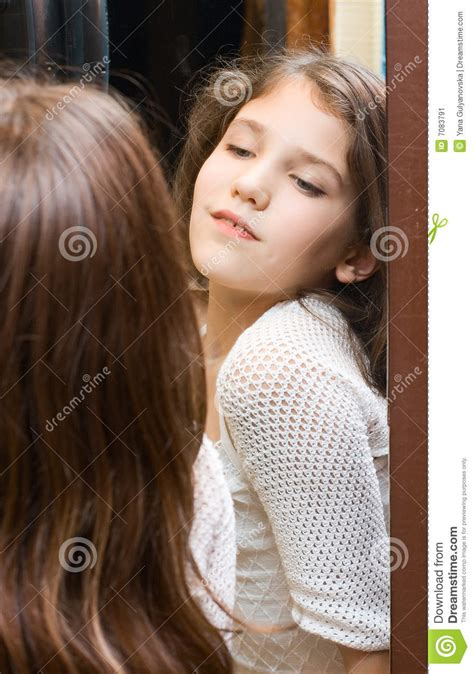 teen girl   mirror stock image image  reflex