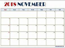 November 2018 Calendar Template Letter Free Printable