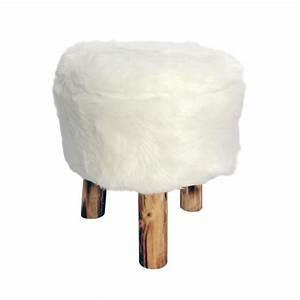 Pouf Fourrure Blanc : tabouret imitation fourrure ours blanc achat vente tabouret acrylique 70 coton 30 ~ Teatrodelosmanantiales.com Idées de Décoration