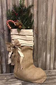 Sweet, Burlap, Stocking, Hanging, On, The, Mantel, Or, Sitting, On, The, Table, Farmhouse, Shabby, Rustic