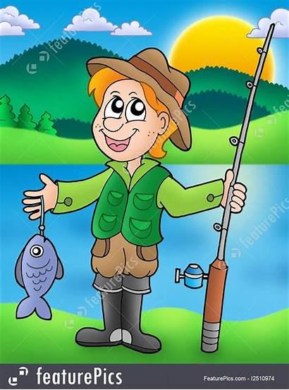 Fisherman Cartoon Fish Illustration