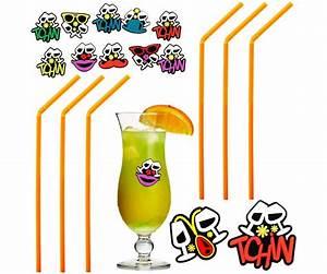 Set Cocktail Fête Apéro Lot 80 Pailles et 12 Marque Verres Festif Orange 5557