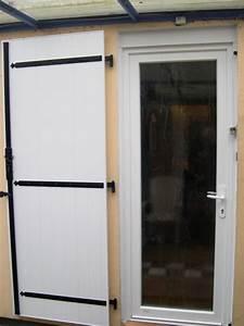 porte d39entree pvc blanc verre depoli et volet battant With porte d entrée pvc avec volet battant pvc
