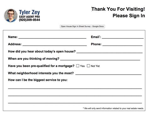 broker open house feedback form open house sign in sheet printable templates free ready