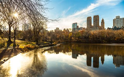 Fall Backgrounds New York by Buildings Lake Reflection Trees Sunlight New York Central