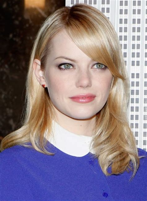 emma stone sleek straight shoulder length hairstyles popular haircuts