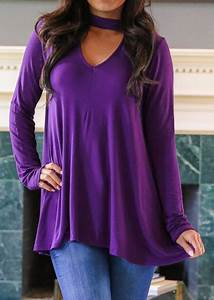 Guide Chart Solid V Neck Long Sleeve Blouse With Choker Plunge