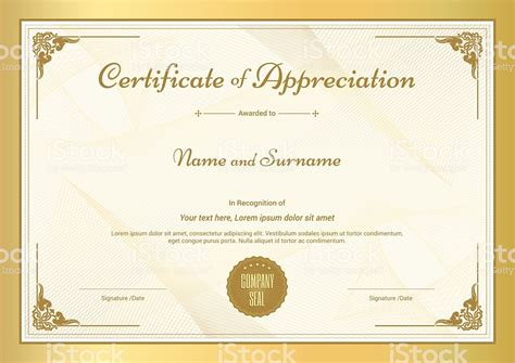 certificate templates with photos certificate of appreciation template with vintage gold