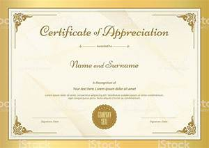Certificate Of Appreciation Template With Vintage Gold