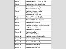 National Days In The Calendar Calendar Printable Free