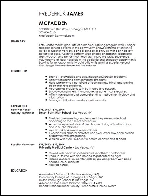 entry level medical assistant resume template resume