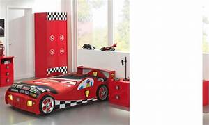 Lit Voiture Garcon : lit enfant voiture rouge avec eclairage et sommier inclus turbopower ~ Teatrodelosmanantiales.com Idées de Décoration
