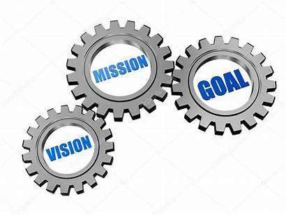 Mission Vision Goal 3d Silver Grey Gears