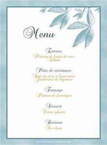 Modele De Menu A Imprimer Gratuit : menu de f te gratuit imprimer feuilles bleues a ~ Melissatoandfro.com Idées de Décoration