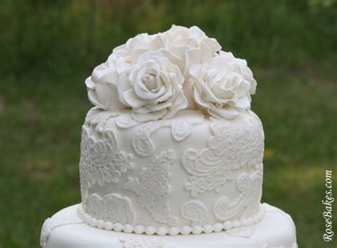 Vintage Lace Wedding Cake With Sugar Roses