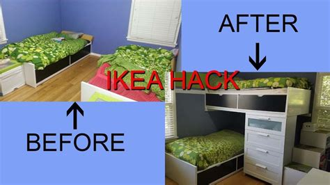 ikea hack single beds turn   modern bunk bed youtube