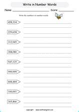 numbers   printable grade  math worksheet
