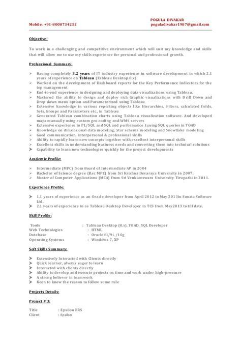 Tableau Developer Resumestableau Resume 100 [ 100