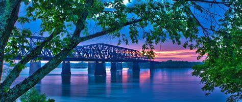 photo landscape bridge evening  image
