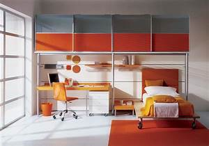 grey and orange kids bedroom interior stylehomesnet With childrens bedroom interior design ideas