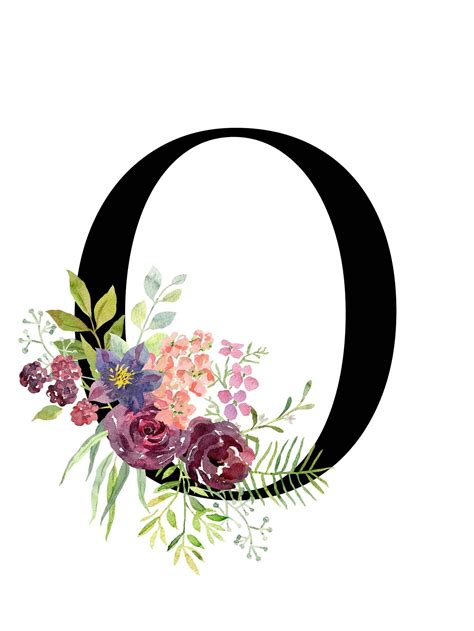 letter  floral alphabet instant digital  etsy