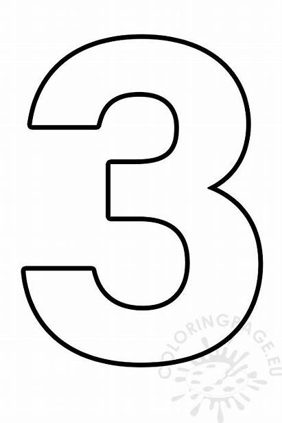 Number Outline Printable Three Numbers Template Coloring