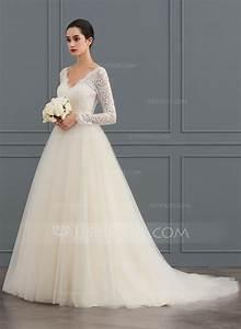 robe marquise col v traine moyenne tulle dentelle robe de With robe de mariée jjshouse