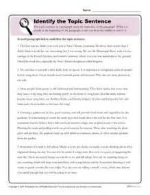 Writing Paragraph Topic Sentence Worksheets