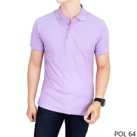 kaos polos kerah ungu muda 100 cotton pique pol 64 gudang fashion