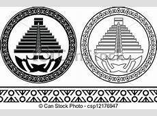 EPS vector de plantillas, Maya, pirámides csp12176947