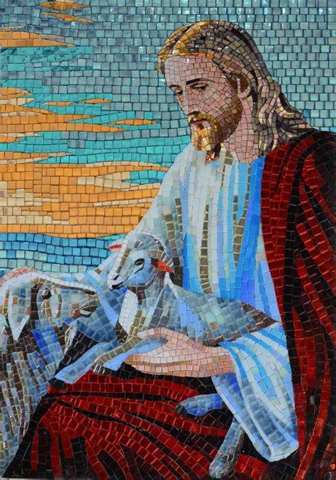 glass mosaic icon portrait  jesus christ mosaics