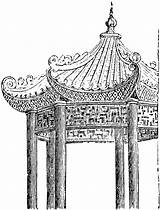Pavilion Chinese Clipart Sketch Cliparts Clip Library Etc Tiff sketch template