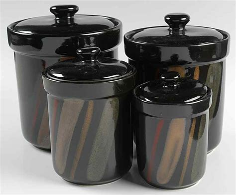 sango avanti black 4 canister set 8250597 ebay
